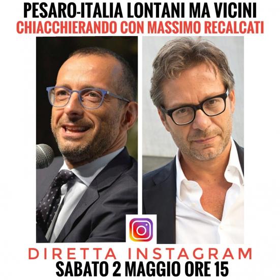 """""""Pesaro-Italia, lontani ma vicini"""": Ricci in diretta Instagram con Massimo Recalcati"""