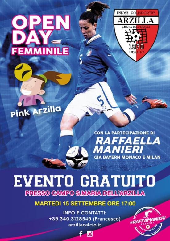 Arriva l'Open Day Pink Arzilla: il 15 settembre evento dedicato a ragazze e bambine dal 2005 al 2015 con Raffaella Manieri
