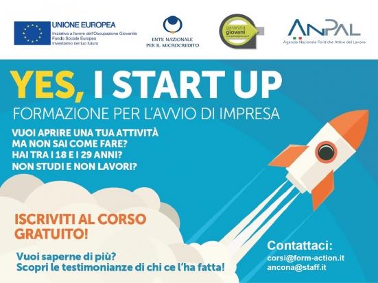 """""""Yes, I Start Up"""": corso di formazione gratuito per aspiranti giovani imprenditori"""