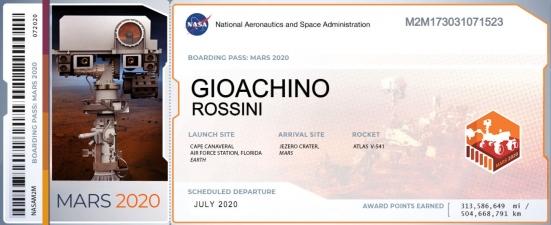 """""""Gioachino Rossini su Marte"""": un biglietto a suo nome nell'ambito della missione Mars 2020 della NASA"""
