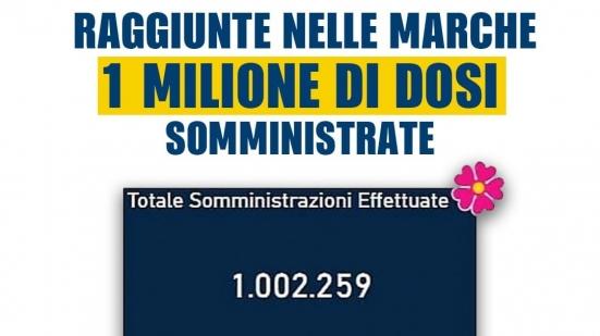 Vaccini anti-Covid, raggiunto il milione di dosi somministrate nelle Marche