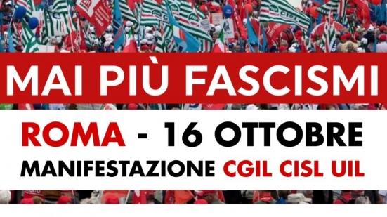 """""""Mai più fascismi"""", manifestazione CGIL CISL UIL a Roma: pullman da Pesaro, Fano, Urbino, Fossombrone e Cagli"""